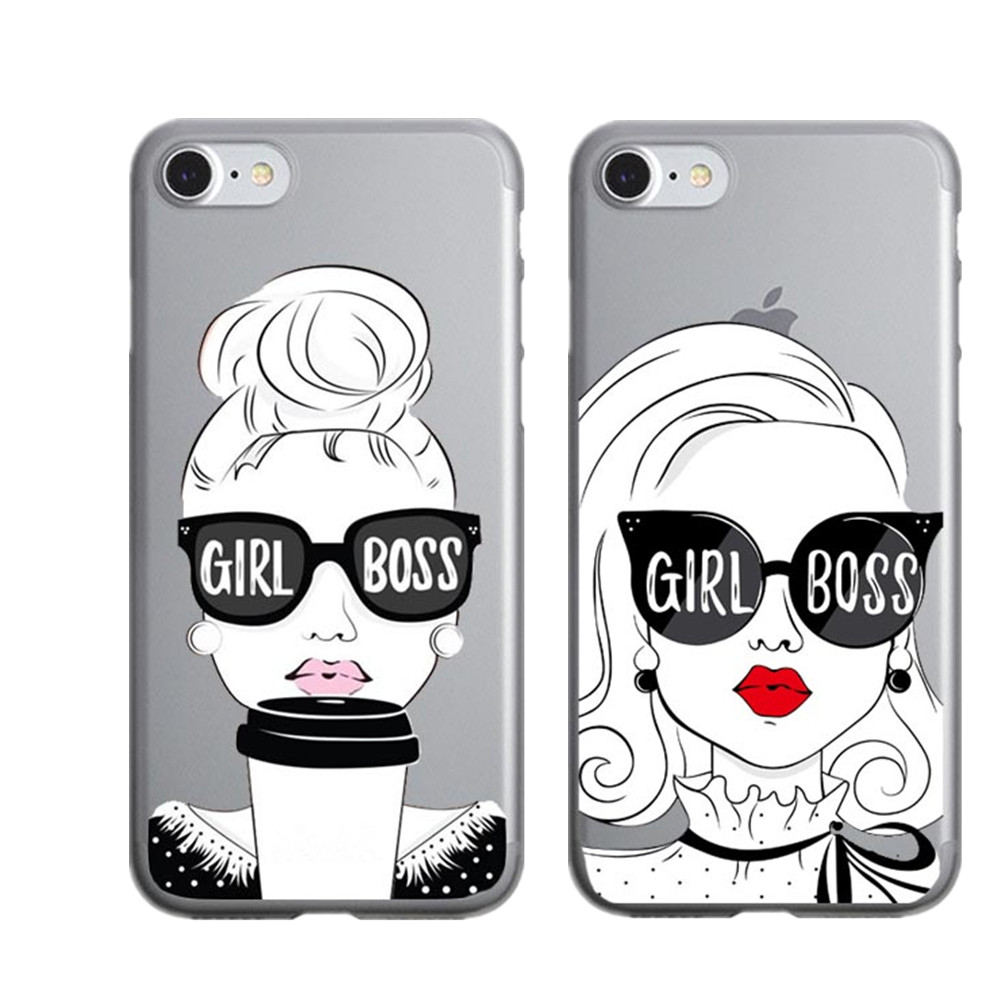 Lucu Kartun Bibir Seksi Gadis Bos Case Untuk IPhone 5 5 S SE