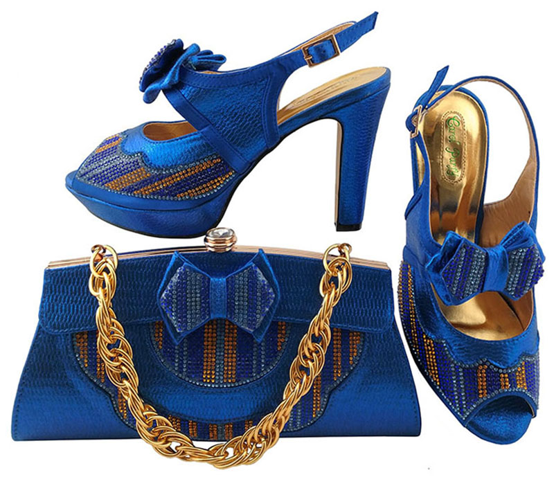 Royal blue fashion sandals women elegant italian design nice 2018 high heel 4.3 inches shoes and bag matching set SB8098-3 fashion women s sandals with metal and stiletto heel design