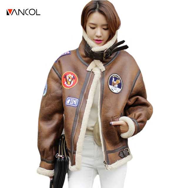 vancol 2016 fashion stand fur collar thickness ladies Suede fur jacket with Epaulet winter women outwear womens shearling coats