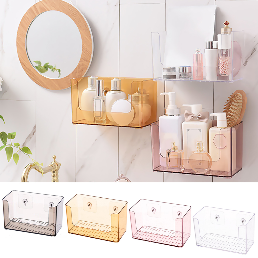 1pc Clear wall mounted Bathroom Organizer To Store Cosmetic And Bathroom Accessories