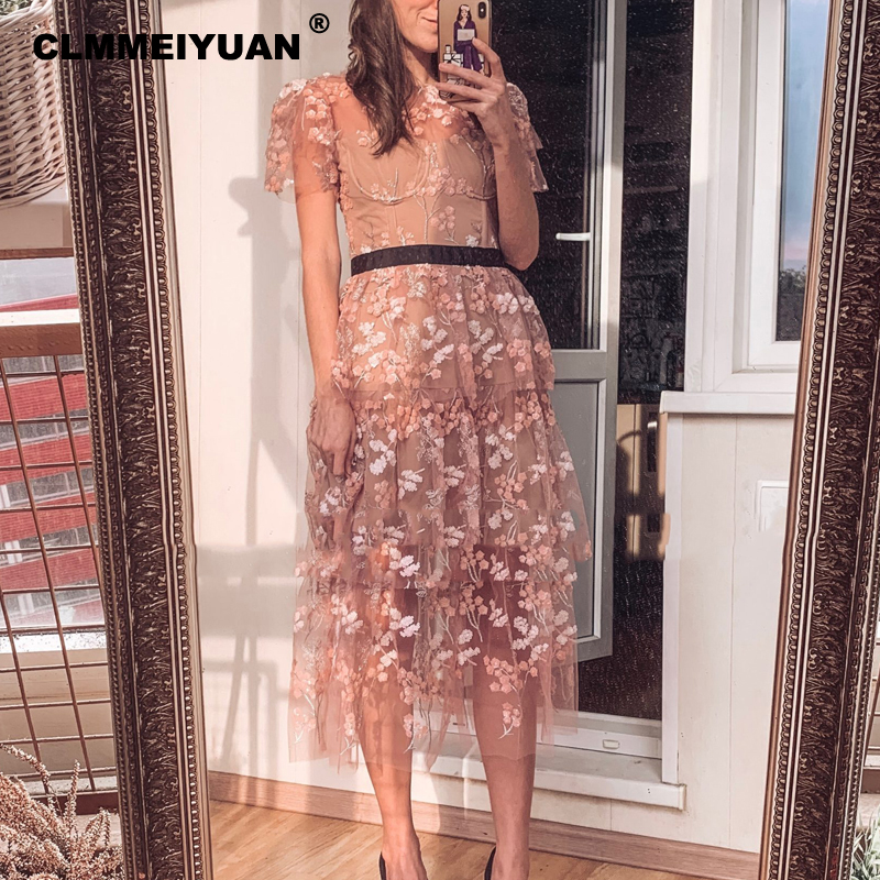 Elegant Short Sleeve Maxi Beach Dress Women Luxury Fashion Sequin Embroidery Mesh Dresses Brand Summer Party