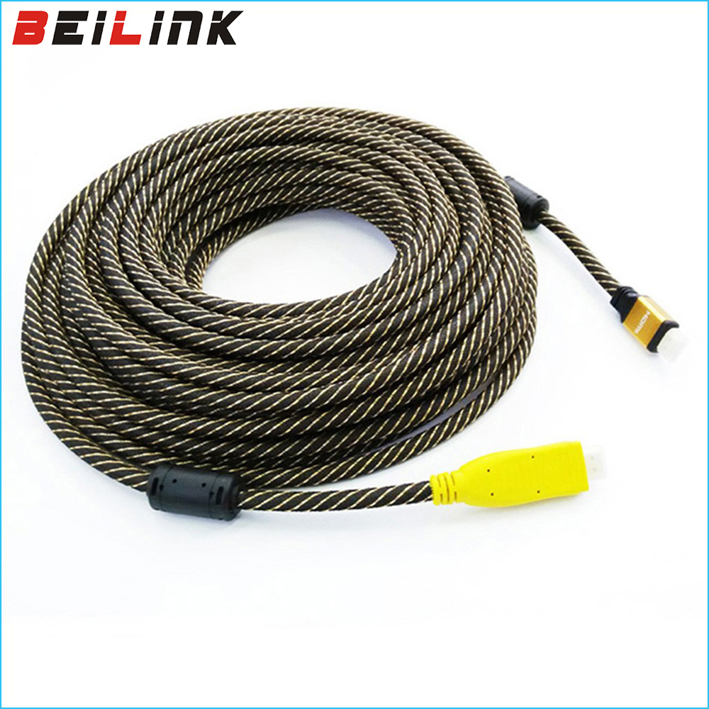 Free Shipping Gold Plated Nylon Braided HDMI Cable Male to Male Built-in IC V1.4 1080P HDTV 3D 25M 30M 35M 40M 45M 50M 60M 70M linoya 24k gold plated hdmi v1 4 a type male to male cable with braided mesh support 1080p 3d 1 5m