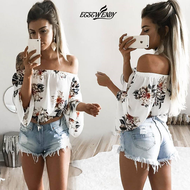 Slash neck Off Shoulder Beach Casual Print T-shirts for Women Harajuku Top Women Crop Top Fashion Women's T-shirts Tops Clothing