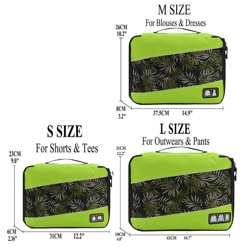 Soperwillton упаковочные кубики, нейлоновая дорожная сумка-Органайзер, Воздухопроницаемая сетчатая дорожная сумка для мужчин и женщин, органайзер для путешествий - Цвет: Green S-M-L