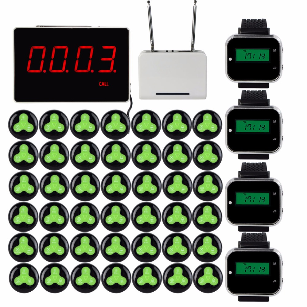 433MHz Wireless Pager Calling System Restaurant Receiver With Host+4pcs Watch Wrist Receiver+Signal Repeater+42pcs Call Button restaurant wireless system with guest pager call button 28pcs and one counter monitor display in 433 92mhz