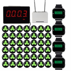 433MHz Wireless Pager Calling System Restaurant Receiver With Host+4pcs Watch Wrist Receiver+Signal Repeater+42pcs Call Button