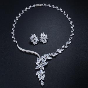 Image 4 - Cwwzirconsブランドキュービックジルコニアウェディングジュエリーアクセサリーブライダルラインストーンのネックレスとイヤリングのセット花嫁T142