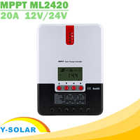 Régulateur de Charge solaire 20A MPPT 12V 24V Auto LCD Max 100V régulateur solaire d'entrée PV pour batterie au Lithium Gel acide au plomb AGM