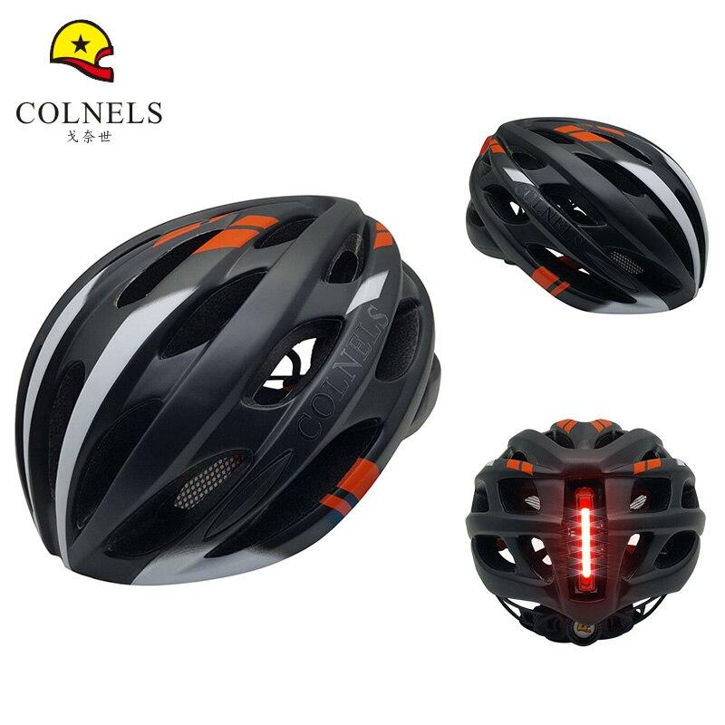 COLNELS The New Bicycle Helmet Men Women Cycling Helmet <font><b>LED</b></font> Ultralight Integrally-molded Mountain Road <font><b>Bike</b></font> Helmets Size 58-62cm