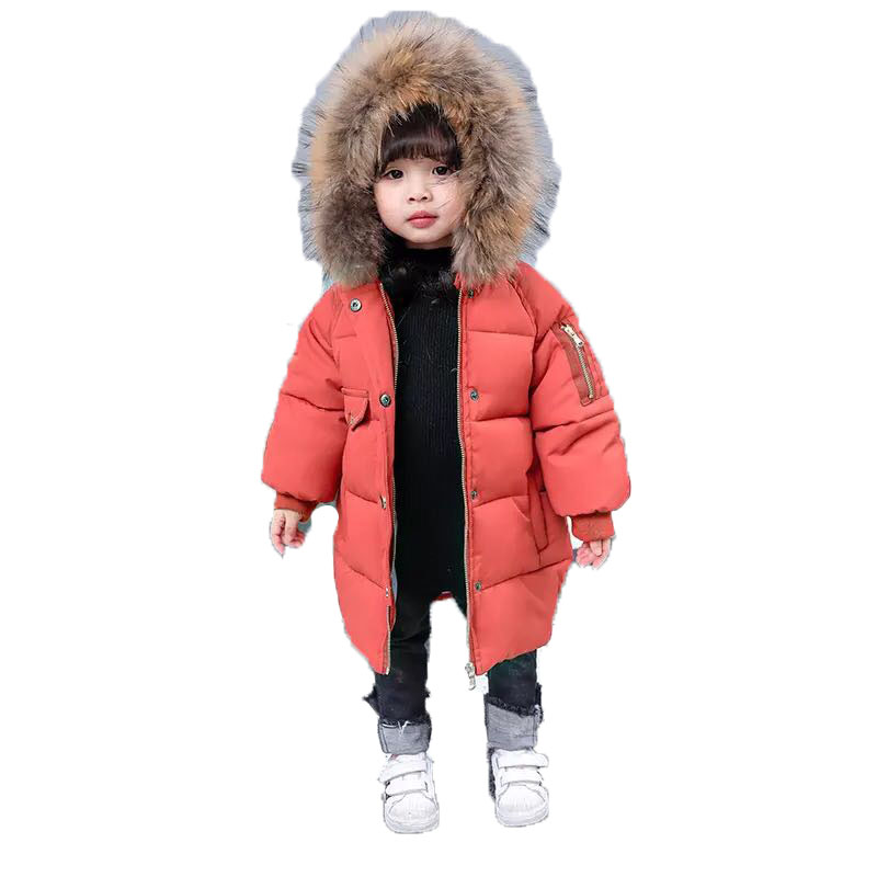 Kids Warm Outerwear Hooded Coat Children Jackets Boys Girls Winter Cotton Padded Coat Baby Coats Real Fur Collar Overcoat E238 boys winter jacket camouflage coats hooded down coat fur collar overcoat cotton snowsuit teenages outerwear wua791702