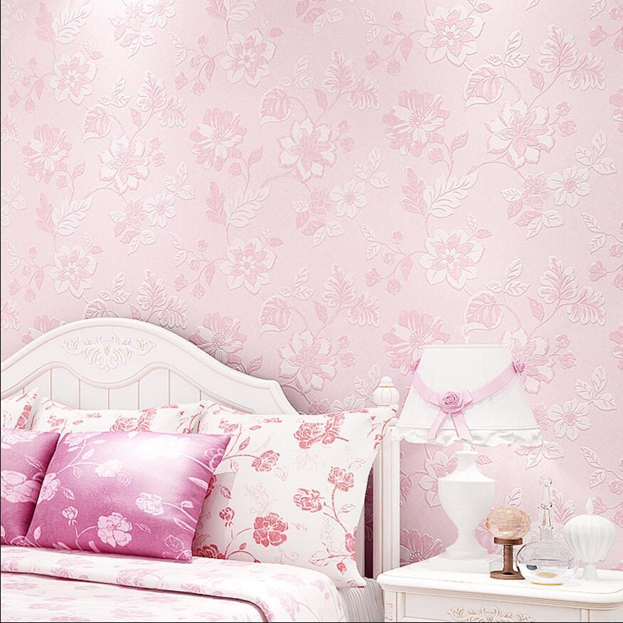 Pink flower wallpaper purple fresh manglers wallpaper rustic non-woven wallpaper