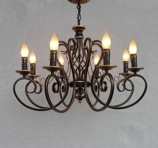 Noël mode européenne Vintage lustre plafonnier 6/8 bougie lumières luminaires fer maison éclairage E14 moderne