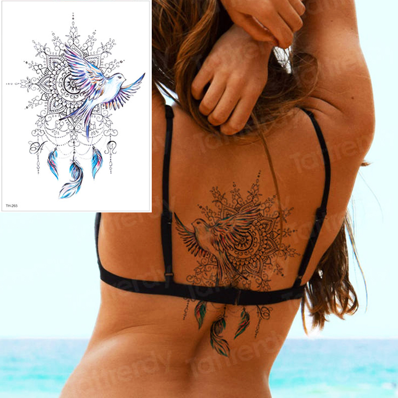 Peace Gigeon DreamCatcher Tattoo Henna Mandala Totem Temporary Tattoo Sticker Feather Waterproof Back Tattoo Body Art Fake Tatoo