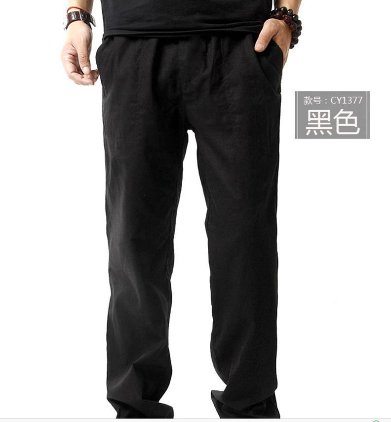 Мужские весенние размера плюс средняя эластичная талия Свободные Полная длина Прямые льняные штаны Мужские дышащие одноцветные хлопковые брюки - Цвет: 1