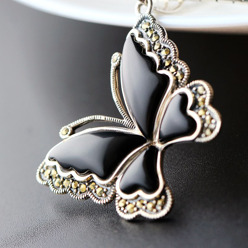 Wholesale Handmade Natural Black Agate Thai Silver Butterfly Pendant Retro S925 Sterling Silver Pendant Fashion Men And WomenWholesale Handmade Natural Black Agate Thai Silver Butterfly Pendant Retro S925 Sterling Silver Pendant Fashion Men And Women