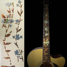Guitar Inlay Sticker Flower and Bird for Electric Acoustic Fretboard Markers Decal Guitarra(China)