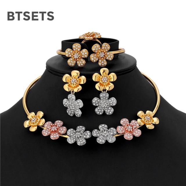 BTSETS Luxury Bridal Jewelry Sets For Women Indian Turkish Ethiopian Wedding  Jewelry Crystal Flower Choker Necklace fbc646dc3cf9