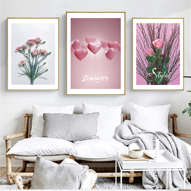 Incroyable Pink Rose Prints And Carnation Posters Romantic Balloon And Flowers  Decorative Pictures For Girls Bedroom Nordic