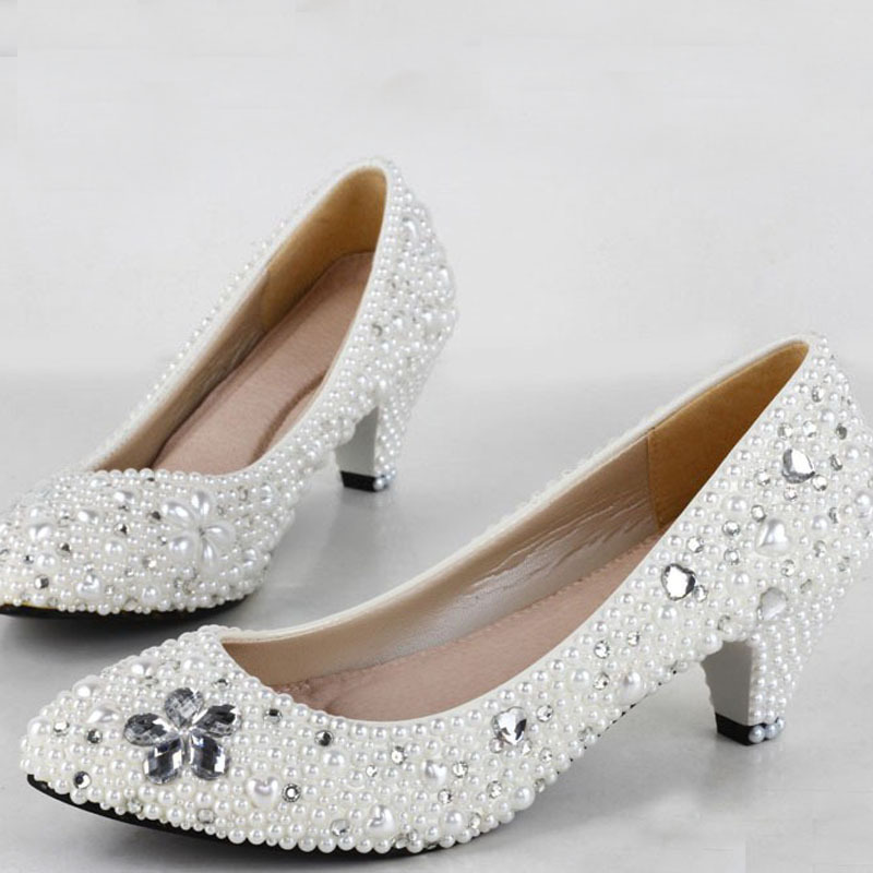 New Handmade Fashion Lady Dress Shoes Bridal Wedding Pearl Low Heel White Mother Of The Bride In Women S Pumps From On