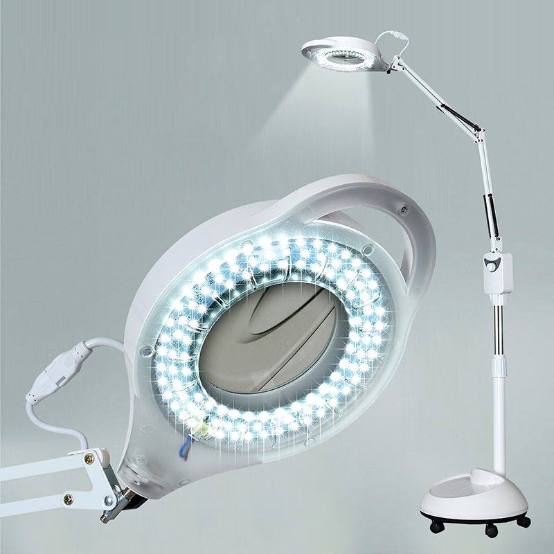 220V 3X Circline LED Lamp Magnifying Glass Cold Ligth Operation Floor Shadowless Lamp Magnifier For Beauty Salon Nail Tattoo