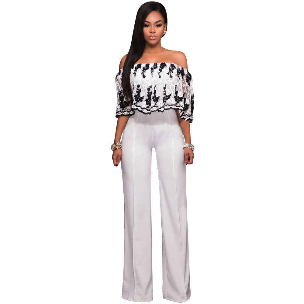 2017 Women Fashion Strapless Floral Pattern Loose Women Jumpsuit Embroidery Flowers Top White Long Pants Ladies Romper