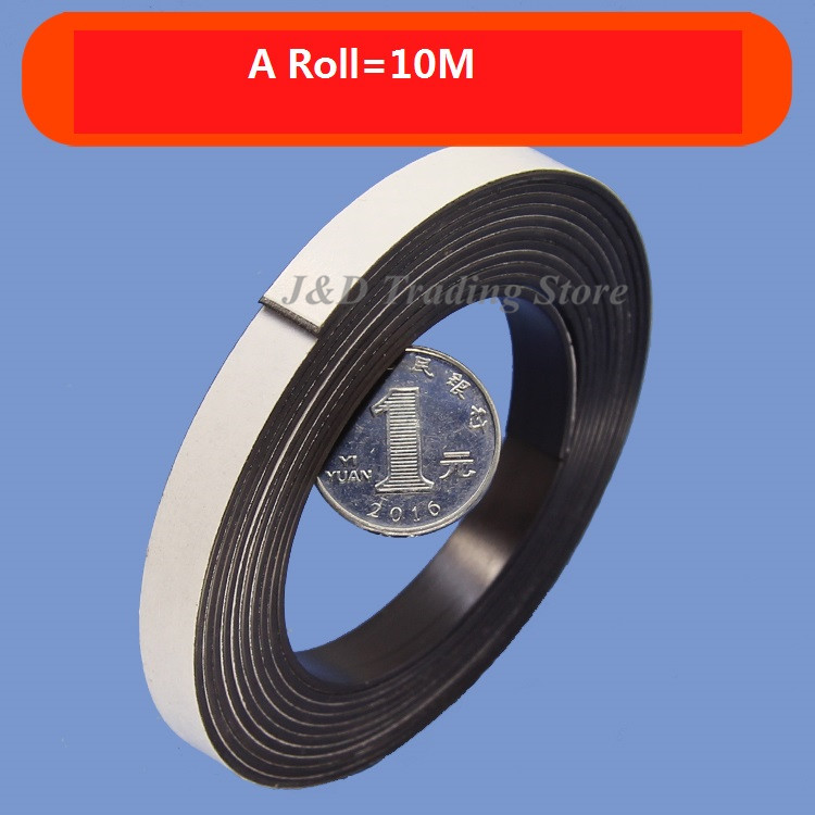 10 x 1 MM 1M Self Adhesive Flexible Rubber Magnet Strip Tape Roll White J/&S
