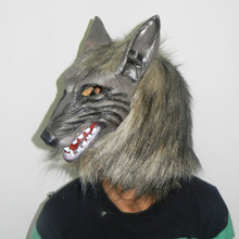 Wholesale Realistic Halloween Adult Latex Mask Animal Werewolf Cosplay Props Party Fancy Dress Scary Gray Wolf Head Masks egyptian anubis cosplay face mask pvc canis spp wolf head animal masquerade props party halloween fancy dress ball
