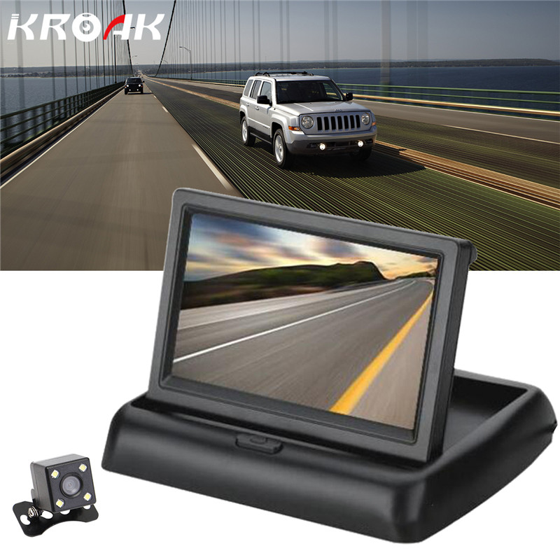 Foldable 4 3 TFT LCD Mini Car Monitor with Rear View Backup Camera For Vehicle Reversing