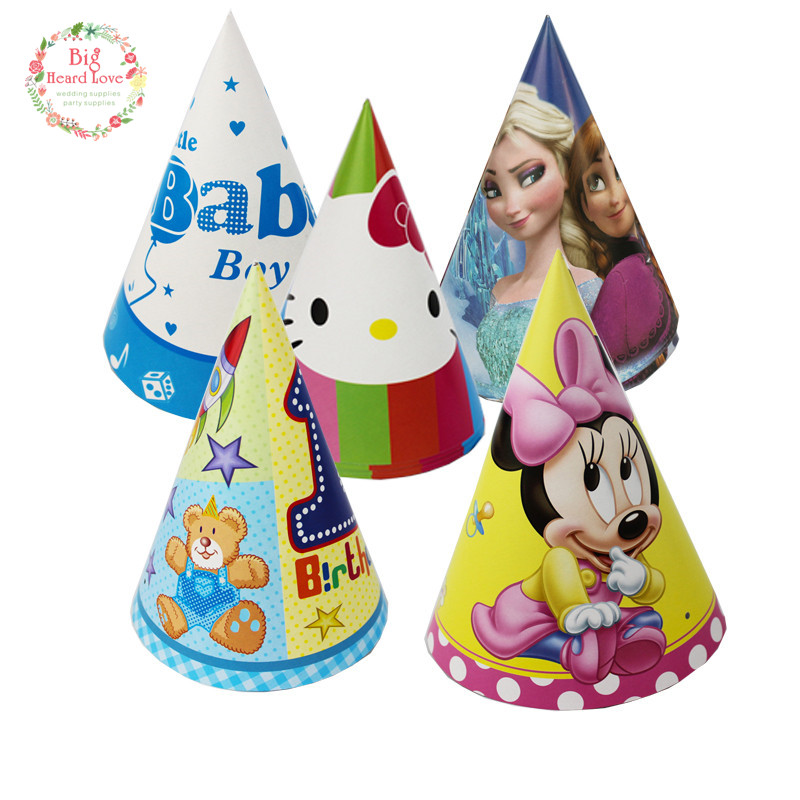 6pcs Cartoon Theme Party Hat Cap With Strings Kids Favors Birthday