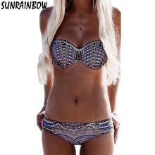2017 Bikinis Women Swimsuit Push Up Swimwear Women Sexy Bandeau Print Brazilian Bikini Set Beach Bathing Suit Swim Wear