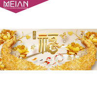 Meian Special Shaped Diamond Embroidery Animal Gold Peacock 5D Diamond Painting Cross Stitch 3D Diamond Mosaic