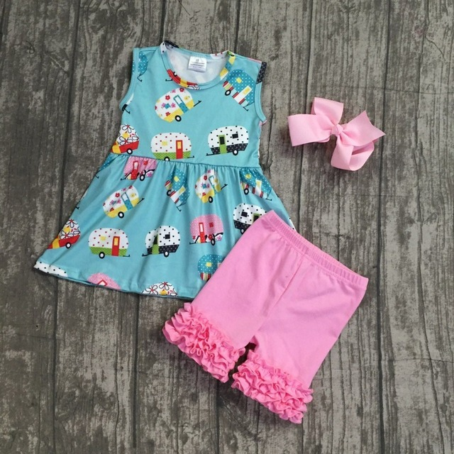 05ff9190381c 2018 boutique Summer outfit camper bus capris set pink icing ruffle short  back to school baby kids wear boutique with bow