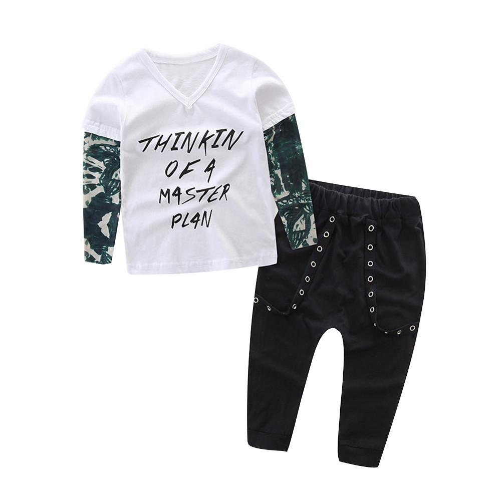 MUQGEW Baby Boy Clothes Newborn Infant Baby Boy Letter Tattoo T shirt Cotton Long Sleeve V-Neck Tops Pants Outfits Clothes Set 1