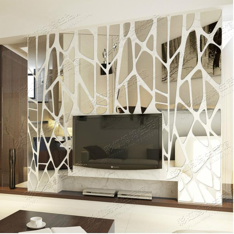 Geometric puzzle Irregular mosaic acrylic stereo back ground ceiling mirror sticker Creative Large 3d decoration wall stickers ...