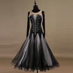 С длинным рукавом бальных танцев конкуренции платья девушку вальс стандартные Бальные платья девушки современный черный Бальные платья