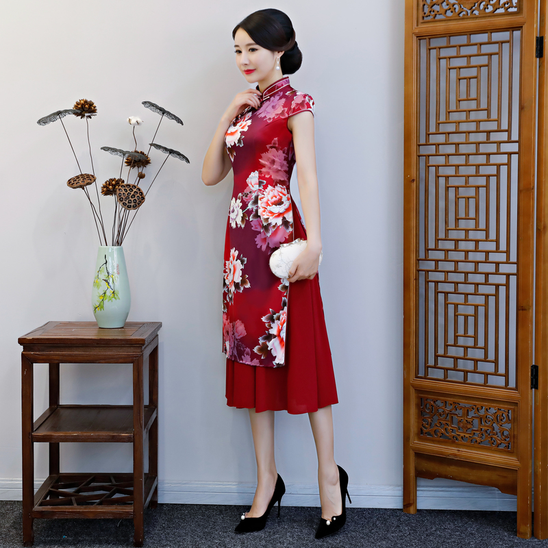 Cinese Partito Pulsante Di Nuovo Vestiti Modo Delle Rayon 4xl Qipao Sottile Lungo Ao Dell'annata Stile Da Cheongsam Size Vestito Plus Vestido Rosso Dai Donne qpaFwaxX