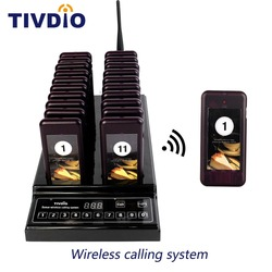 TIVDIO T-112 999 Channel 20 Call Coaster Pager Wireless Queuing System Buzzer Call Button Pager Restaurant Equipments F9402A