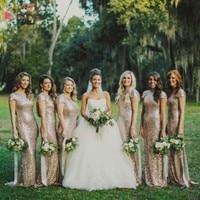 Elegant Backless Gold Sequin Long Bridesmaid Dresses Sexy Bridesmaids Gowns robe demoiselle d'honneur wedding Guest Dress JQ83