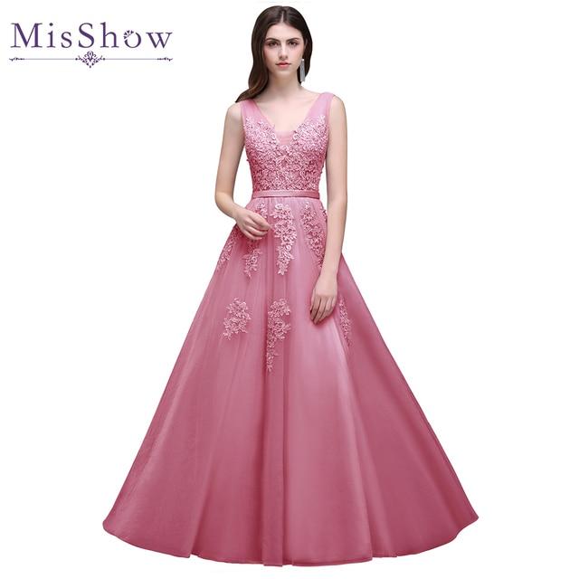 Robe De Soiree 2017 Longue Günstige Spitze Tüll Rosa Abendkleid kleider  Lange Appliques Abendkleid Formales Partei 4c6db4e140