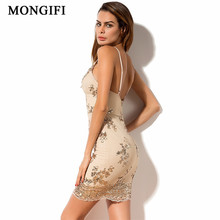 MONGIFI Deep V Neck Sequin Sexy Dress Women Club Wear Backless Off  Shoulder Bandage Dress 2018 New Arrivals Bodycon Sundress
