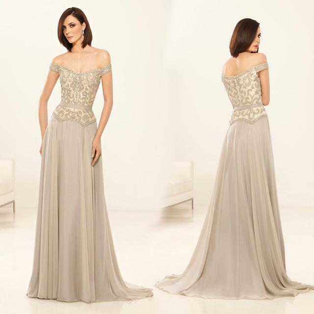 Vestido de festa elegante A linha mãe da noiva vestidos Off ombro frisado Chiffon vestido Formal XMD82
