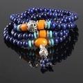 Ubeauty 108 природные лазурита бусы Тибетский Будда молитва мужской строка браслет буддийской Медитации синий камень в ожерелье