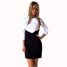 Autumn women Winter Long Sleeves Party Dresses Girls Contrast Color Office white black tunic ladies Sexy warm ukraine dresses
