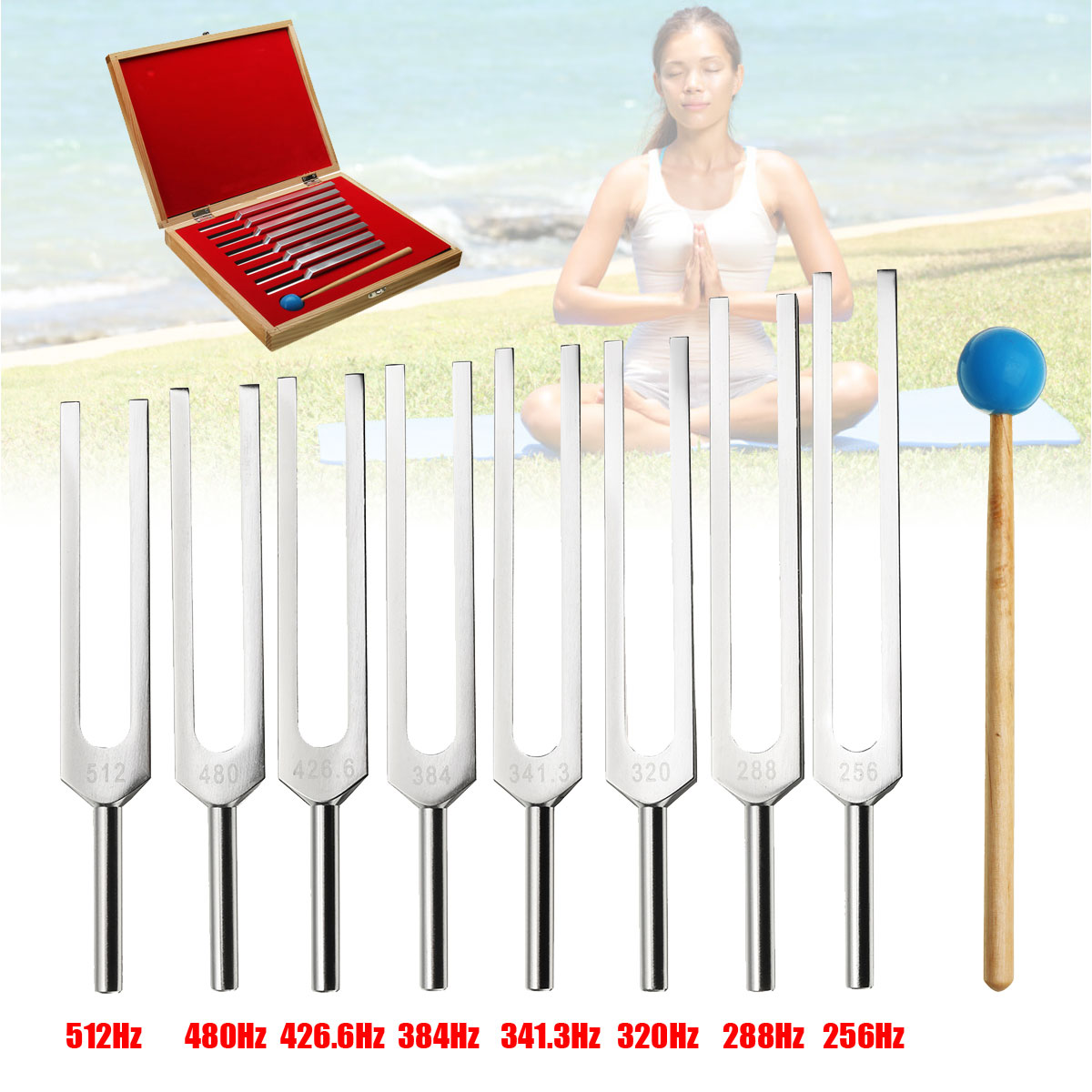 ZEAST 8Pcs Set Aluminum Medical Tuning Fork Healing Sound Vibration Therapy 256Hz 288Hz 320Hz 341Hz 384Hz