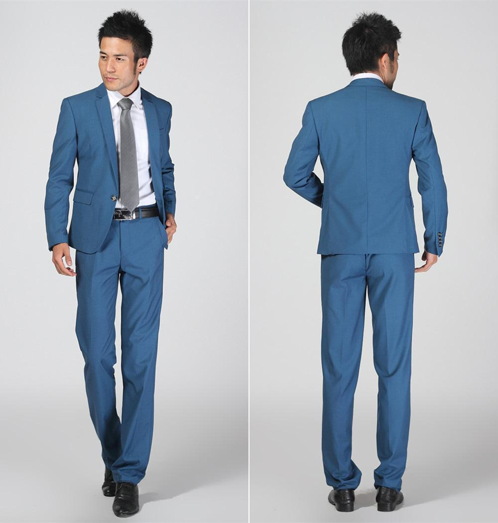 2016 New Arrival Blue Slim Fit Groom Tuxedos Prom Suits Best Man ...
