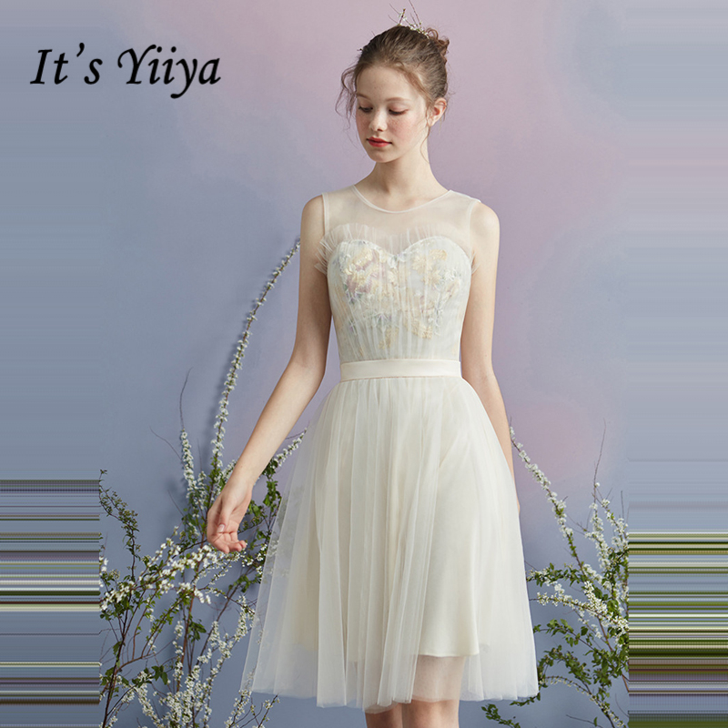 It's YiiYa Cocktail Dress 2018 Party Sleeveless Tulle Illusion Flower Fashion Designer Elegant Short Cocktail Gowns LX1065