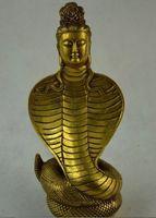 Metal Crafts Western Mythology Brass Art Snake Woman Played Clarinet Snake Statue Fast Shipping