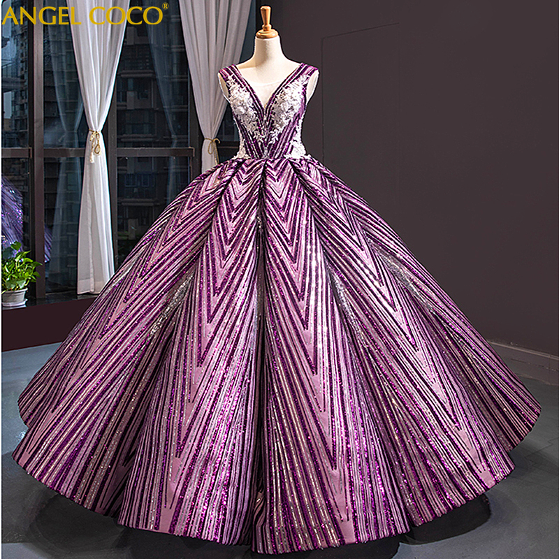 Luxury Evening Dresses Long 2019 Purple Sparkly Glitter Sequin Arabic Formal Prom Evening Gown Robe de Soiree Abendkleider(China)