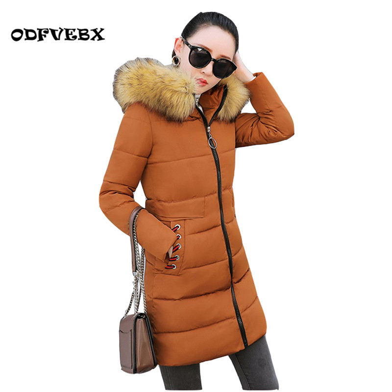 2019 Women's Winter Slim Down Cotton Jacket Large Size Fur Collar Hooded Down Cotton Jackets Women's Thick Warm Cool Cotton Coat