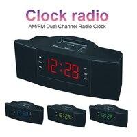 EDAL ABS 2 в 1 светодиодный цифровой настольные часы с FM AM радио Функция (ЕС вилка 220 В) радио часы